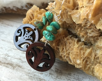 Hand Carved Wooden Pendant Earrings