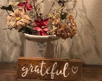 Grateful - Reclaimed Wood Wall Sign