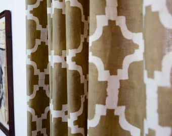 "Window Curtains taupe brown mocha geometric curtains tile pattern Lattice Ogee printed drapes shades panels moroccan 44"" x 84"" CHAIN LINK"