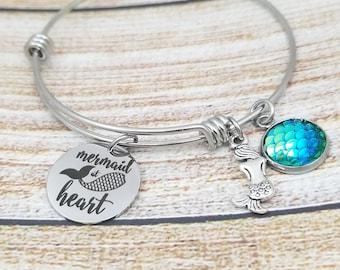 Mermaid at Heart Customizable Expandable Bangle Charm Bracelet, beach jewelry, mermaid, ariel