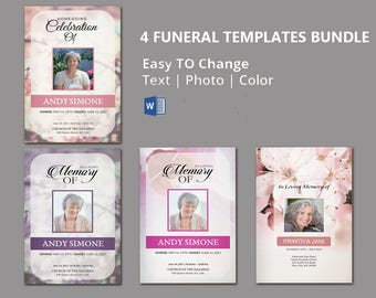 Funeral Program Template , 4 funeral bundle |  memorial program template |  Editable With Microsoft Word | Instant Download - EF125