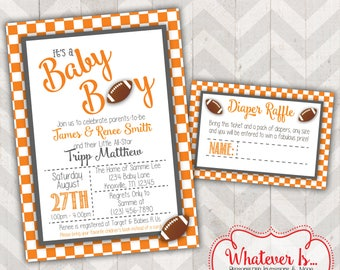 Orange and White Football Baby Shower Printable Invitation with Diaper Raffle Card; Tennessee; Vols; Tennessee Volunteers