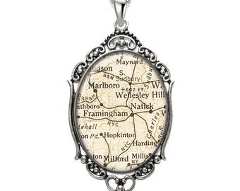 Map Pendant Framingham Natick MA Oval Filigree Pendant City Massachusetts Necklace Art Pendant Photo Pendant Graphic Pendant