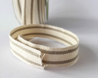"French Stripe Cotton Ribbon Neutral Stripe  5/8"" Natural Cotton Twill Tape 5 Yards"