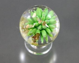 air trap marble, Julie Van Ember glass, implosion marble, mica marble, lampwork marble, soft glass marble, sea urchin marble, green glass