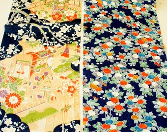 Vintage Japanese Silk Kimono Fabric | Patchwork Lot 117