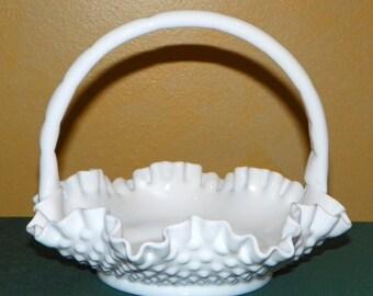 Fenton Hobnail Milk Glass 8 Inch Double Crimped Basket, MINT