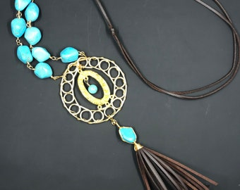 Mayan pewter db couture turquoise, leather necklace