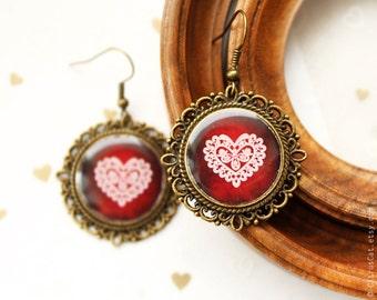 Heart-Shaped lace earrings