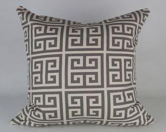 Cream & Grey Greek Key Pillow Cover // hand made home, throw pillow, cream grey, modern brass zipper, home decor, geometric, lumbar