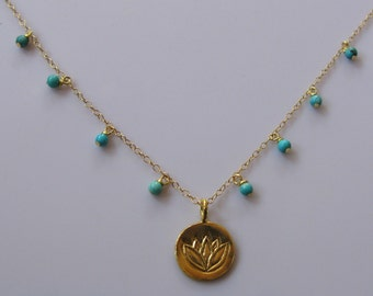 Calm waters 22K Gold vermeil lotus turquoise rounds drops dainty necklace Asia India China Tibet Peace love harmony necklace chain choker