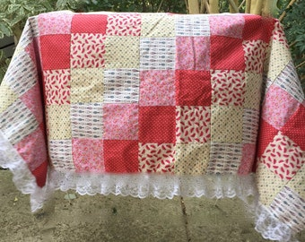 Tablecloth, patchwork, square, red, pink, fish, watermelon print, flowers, country home decor, floral, home decor, kitchen, strawberries,
