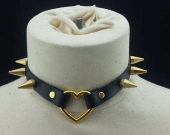 Choker Genuine Leather - Choker Collar Black Leather Choker with Gold Heart Ring and Gold Spikes
