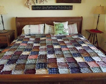 Custom Full Size Patchwork Rag Quilt, Made to Order, Handmade Quilt, Homemade Quilt, Primitive Quilt, Farmhouse Quilt, Vintage Bed Size