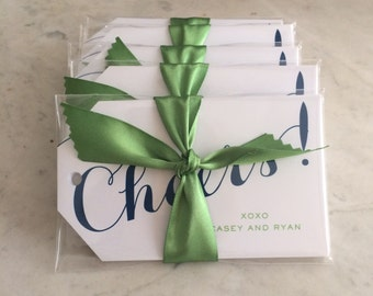 """personalized """"cheers!"""" hostess gift / wine / present / hanging tags - kelly green and navy"""