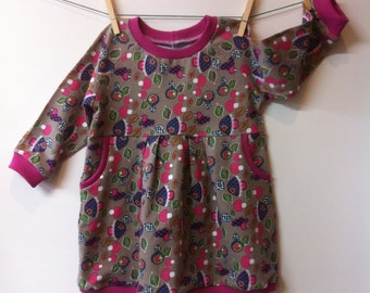 Wild mushrooms dress with pink edges, mt86, 11/2-2 yrs