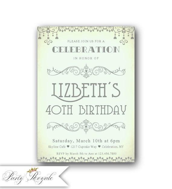 40 invitaciones de cumpleaños de menta / Arte Deco estilo