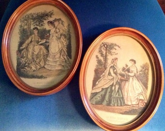 2 Antique Wood Oval Framed French Fashion Lithographs