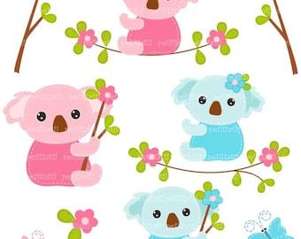 ON SALE bear clip art - Koala clip art, Digital clip art for all use, Koala and Butterfly, bear clip art, pink, blue