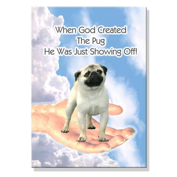 Pug God Showing Off Fridge Magnet No 1 Fawn