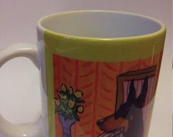 25% off Doberman Pinscher at the Coffee shop 11 oz mug cup gift dog art artwork