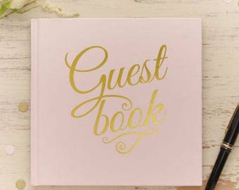 Guestbook sign pink gold