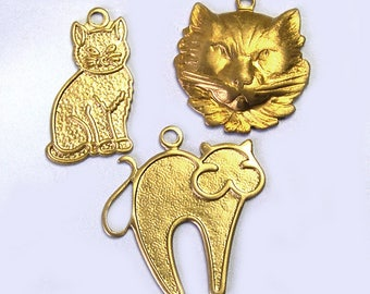 18 Old New Stock Assorted Brass Cat Charms, brass kitty charms, brass kitty cat charms, jewelry supplies, Lizones Jewelry on Etsy