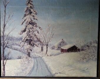 Oil Painting - Original landscape signed Dottie Browkaw - Vintage