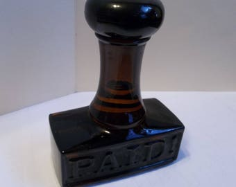"Vintage 1970's AVON - ""Paid"" Stamp Decanter Full of Windjammer After Shave.(full)"