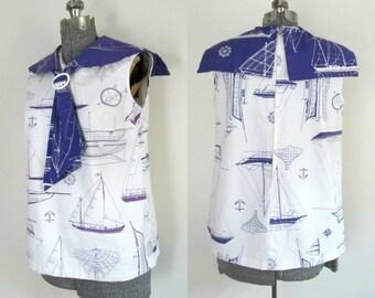 1960s Cotton Nautical Sailor Top Collar Tie Sailboats Purple and White