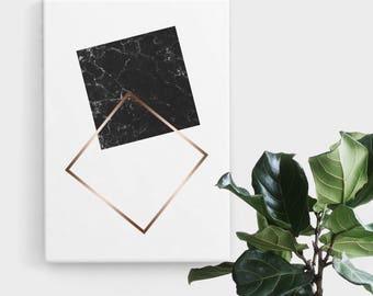 Black Marble Rose Gold Square Print, Print Art, Geometric Art, Abstract Art, Scandinavian Print, Minimalist Art, Digital Art, Printable Art