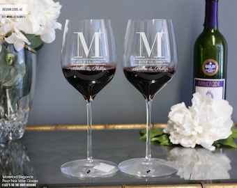 Engraved Waterford Elegance Crystal Wine Glasses (Set of TWO) Pinot Noir Red Wine Glasses, Personalized Wedding Gift, Engagement Gift