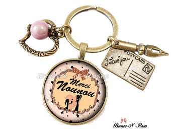Key * thank you for nanny * pink glass costume jewelry gift beige glass