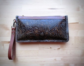 Brown Leather clutch, iphone case, zipper pouch, floral leather purse, Brown leather bag, women wallet southwestern style, boho bag