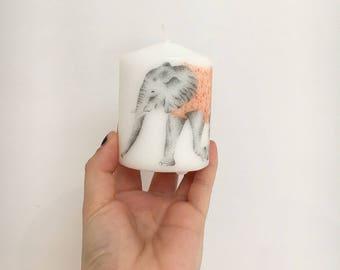 Elephant Pillar Candle, Elle Candle