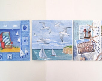 Decoupage paper napkins, Summer theme with lighthouse, beach, boats,seagulls set of 3 paper napkins, 33x33 cm (13 x 13 in)
