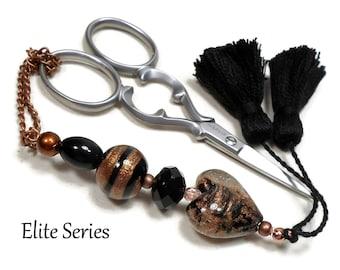 Black Copper Heart Scissor Fob, Scissor Minder, Scissor Keeper, Beaded Key Fob, Tassel, Needlepoint, Quilting, Sewing Accessory Cross Stitch