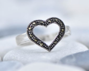 Sterling Silver Marcasite Heart Ring