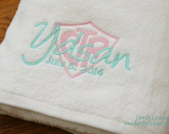 CTR Baptism Towel - Pink and Aqua - LDS gift - Personalized Towel  - 8 is Great - Eight is Great
