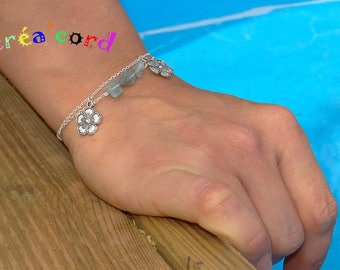 Thin chain and d apatite Bead Bracelet