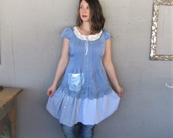 upcycled summer dress Bohemian clothing Gypsy recycled  blue cotton tunic fun clothes X L Boho Statement dress reclaimed LillieNoraDryGoods