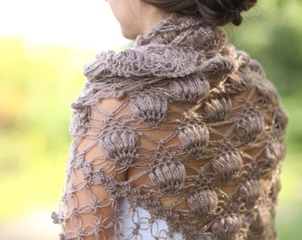 Bridal Shrug,Brown Shawl,Shawl, Wedding Shawl and Shrug, Wedding Shawl, Crochet Shawl, Winter Wedding, Bridal Cover up, Bridal Wrap, Wedding
