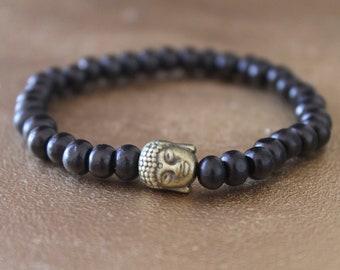 Buddha bracelet - mens bracelet - Buddhist bracelet - bronze metal bead black wood beads - designer jewelry - wooden bracelet - zen