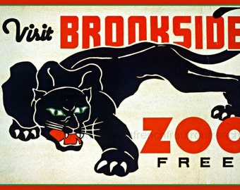 antique art deco poster visit brookside zoo illustration DIGITAL DOWNLOAD