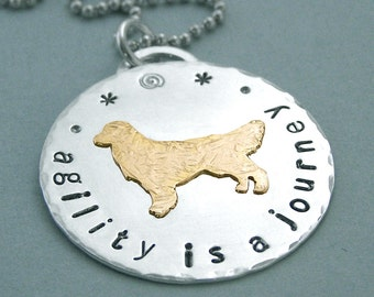 Golden Retriever Canine Agility Necklace - Sterling Silver and 14K Gold Filled - agility is a journey - Dog Agility Jewelry