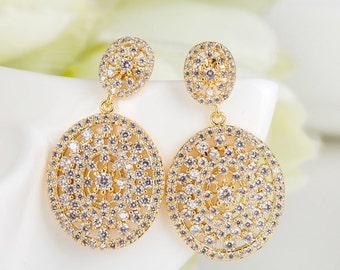 Bridal Earrings Wedding Jewelry White Gold Rhodium Circle Dangle Earrings Bridesmaid Earrings Drop Earrings Elegant Earrings Bridesmaid Gift