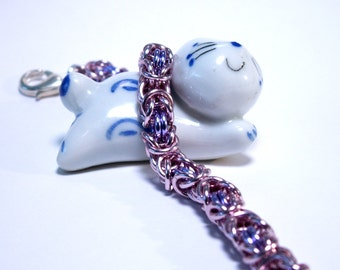Pink and Lavender Chainmaille Byzantine Bracelet - Free Shipping Canada and Continental US