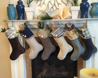 Blue  and Tan Christmas Stockings, Beige Holiday Socks, Modern Tailored Gift Bags, Stockings with Buttons