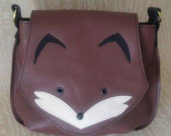 Leather Fox Saddlebag Crossbody Purse, Handbag, Fox purse, Leather Fox Purse, Fox Handbag,