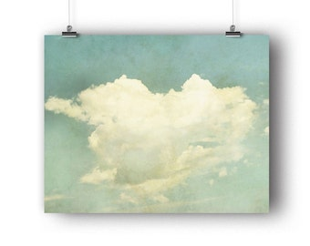 Cloud Print, Photography Print, Wall Art Print, Sky Picture, Heart Shaped Cloud Photo, Nursery Wall Decor, Valentines Gift, 8 x 10 Print